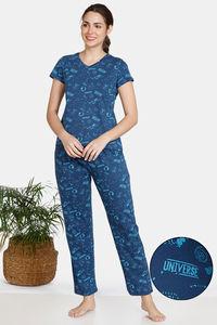 Buy Zivame Galaxy Print Cotton Pyjama Set - Navy Peony