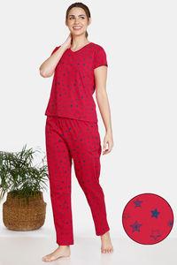 Buy Zivame Galaxy Print Cotton Pyjama Set - Toreador
