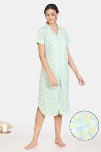Buy Zivame Happy Flock Cotton Mid Length Nightdress - Aruba Blue