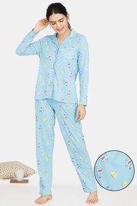 Buy Zivame Happy Flock Cotton Pyjama Set - Crystal Seas