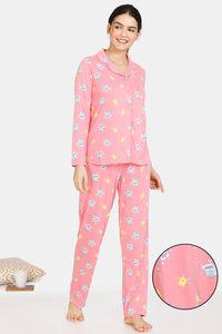 Buy Zivame Happy Flock Cotton Pyjama Set - Pink Lemonade