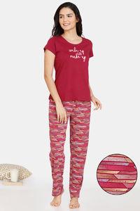 Buy Zivame Happy Flock Cotton Pyjama Set - Beet Red