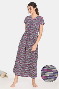 Buy Zivame Happy Flock Cotton Full Length Nightdress -Medieval Blue