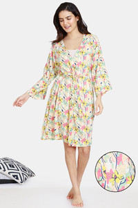 Buy Zivame Pretty Floral Rayon Knee Length Robe - Tender Peach