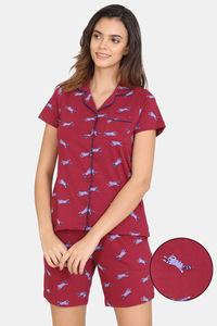Buy Zivame My Besties Cotton Shorts Set-Beet Red