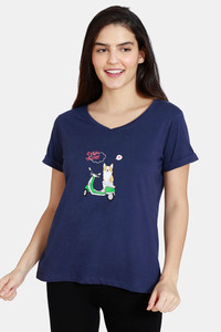 Buy Zivame Her World Knit Cotton Top - Medieval Blue