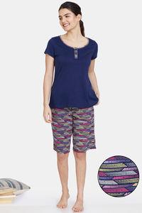 Buy Zivame Happy Flock Cotton Shorts Set -Medieval Blue