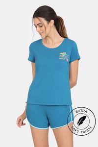 Buy Zivame Lounge Viscose Blend Shorts Set - Seaport
