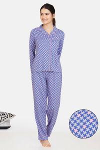 Buy Zivame Jigsaw Jungle Cotton Pyjama Set  - Wedgewood