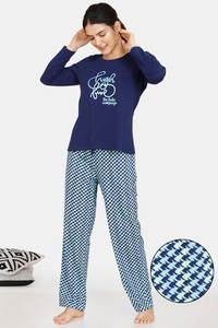 Buy Zivame Jigsaw Jungle Knit Cotton Pyjama Set - Medieval Blue