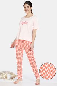 Buy Zivame Jigsaw Jungle Knit Cotton Pyjama Set - Coral Quartz