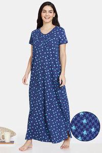 Buy Zivame Jigsaw Jungle Cotton Full length Nightdress - Oceana