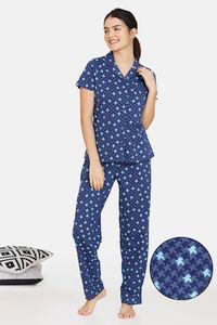Buy Zivame Jigsaw Jungle Cotton Pyjama Set  - Oceana