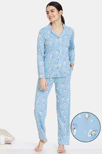 Buy Zivame Groggy Froggy Knit Cotton Pyjama Set - Crystal Blue