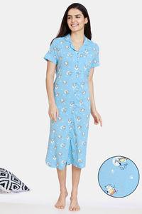 Buy Zivame Groggy Froggy Knit Cotton Mid Length Nightdress - Crystal Blue