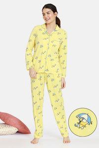 Buy Zivame Groggy Froggy Knit Cotton Pyjama Set - Popcorn