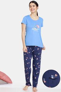 Buy Zivame Groggy Froggy Knit Cotton Pyjama Set - Oceana