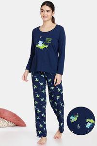 Buy Zivame Groggy Froggy Knit Cotton Pyjama Set - Medieval Blue