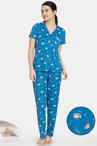 Buy Zivame Pale Snail Knit Poly Pyjama Set - Saxony Blue