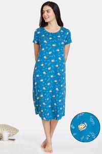 Buy Zivame Pale Snail Knit Poly Mid Length Nightdress - Saxony Blue