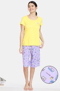 Buy Zivame Bakers Nest Knit Cotton Shorts Set -Orchid Bloom