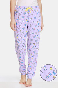 Buy Zivame Bakers Nest Knit Cotton Pyjama - Orchid Bloom