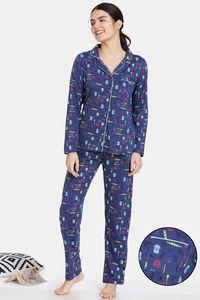 Buy Zivame Bakers Nest Knit Cotton Pyjama Set - Oceana