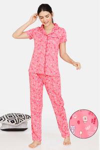 Buy Zivame Bakers Nest Knit Cotton Pyjama Set - Pink Lemonade