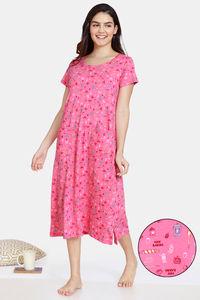 Buy Zivame Bakers Nest Knit Cotton Mid Length Nightdress - Pink Lemonade