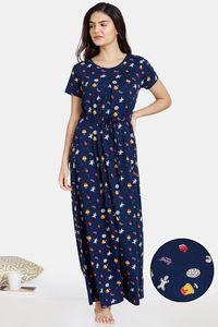 Buy Zivame Bakers Nest Knit Cotton Full Length Nightdress -Medieval Blue