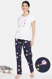 Buy Zivame Annversary Knit Cotton Pyjama Set - Graphite