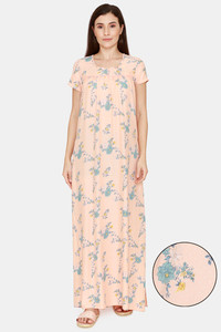 Buy Zivame Pretty Floral Woven Full Length Nightdress - Coral Reef