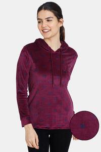 Buy Zivame Velour Knit Poly Hoodie Sweatshirt - Potent Purple