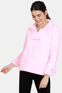 Buy Zivame Fur Knit Poly Sweatshirt - Candy Pink