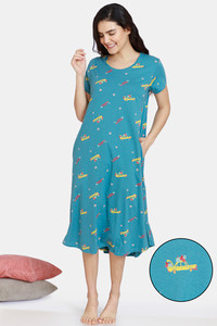 Buy Zivame Autumn Leaves Knit Cotton Mid Length Nightdress - Brittany Blue