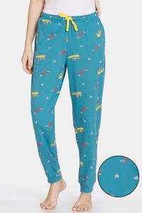 Buy Zivame Autumn Leaves Knit Cotton Pyjama - Brittany Blue