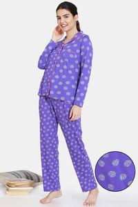 Buy Zivame Impression Knit Cotton Pyjama Set - Purple Corallites