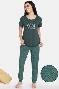 Buy Zivame Impression Knit Cotton Pyjama Set - Trek Green