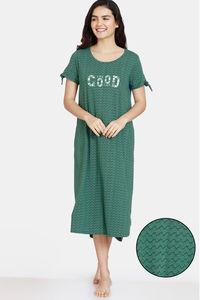 Buy Zivame Impression Knit Cotton Mid Length Nightdress - Trek Green