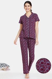 Buy Zivame Impression Knit Cotton Pyjama Set - Potent Purple