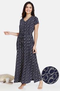 Buy Zivame Impression Knit Cotton Full Length Nightdress - Dark Sapphire
