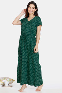 Buy Zivame Impression Knit Cotton Full Length Nightdress - Mountain View