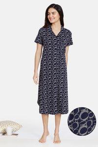 Buy Zivame Impression Knit Cotton Knee Length Nightdress - Dark Sapphire