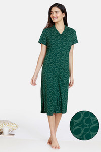 Buy Zivame Impression Knit Cotton Knee Length Nightdress - Mountain View