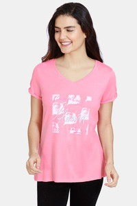 Buy Zivame Colored Twigs Cotton Top  - Pink Ice