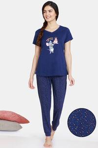 Buy Zivame Tom & Jerry Anniversary Knit Cotton Pyjama Set - Medieval Blue