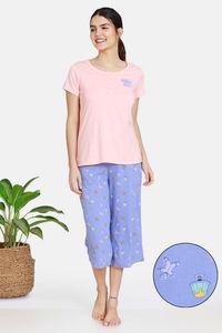 Buy Zivame Bakers Nest Knit Cotton Capri Set - Wedgewood