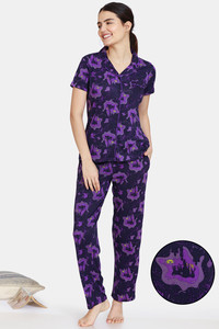 Buy Zivame Halloween Knit Poly Pyjama Set - Parachute Purple