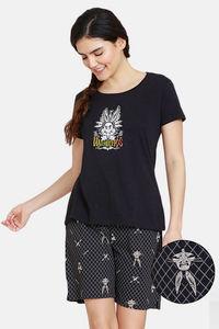 Buy Zivame Looney Tunes Halloween Knit Cotton Shorts Set  - Anthracite