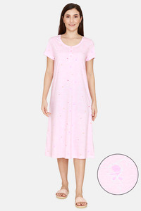 Buy Zivame Sassy Mousie Knit Poly Knee Length Nightdress - Impatience Pink
